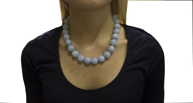 Aquamarine Rose Gold Choker Necklace For Sale 1