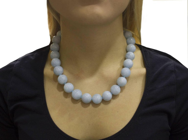 Aquamarine Rose Gold Choker Necklace For Sale 2