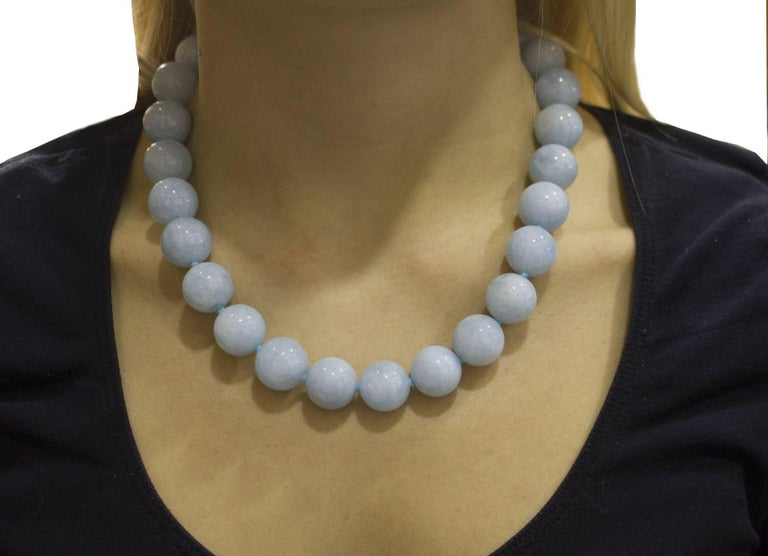 Aquamarine Rose Gold Choker Necklace For Sale 3