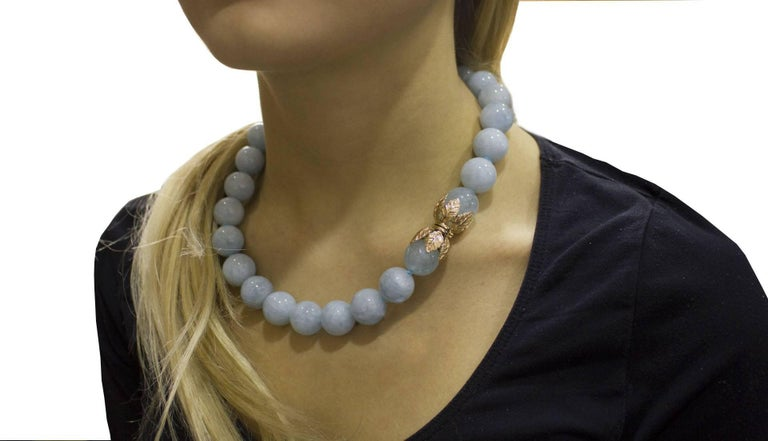 Aquamarine Rose Gold Choker Necklace For Sale 4