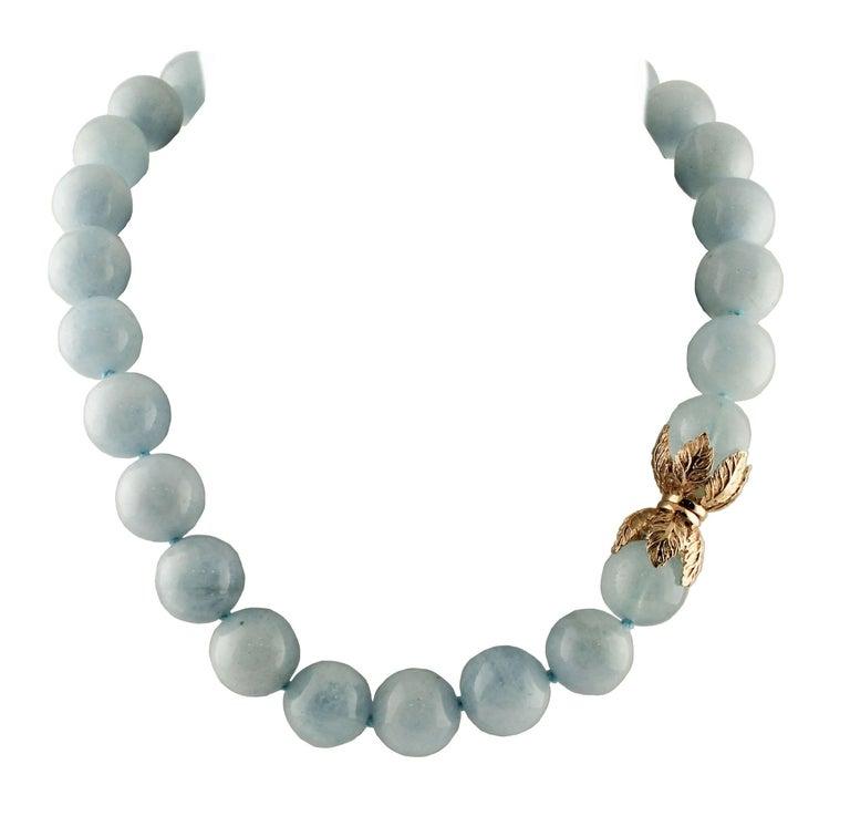 Aquamarine Rose Gold Choker Necklace For Sale