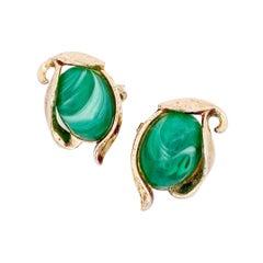 Caravan Collection Faux Malachite Thermoset Earrings By Crown Trifari, 1950s