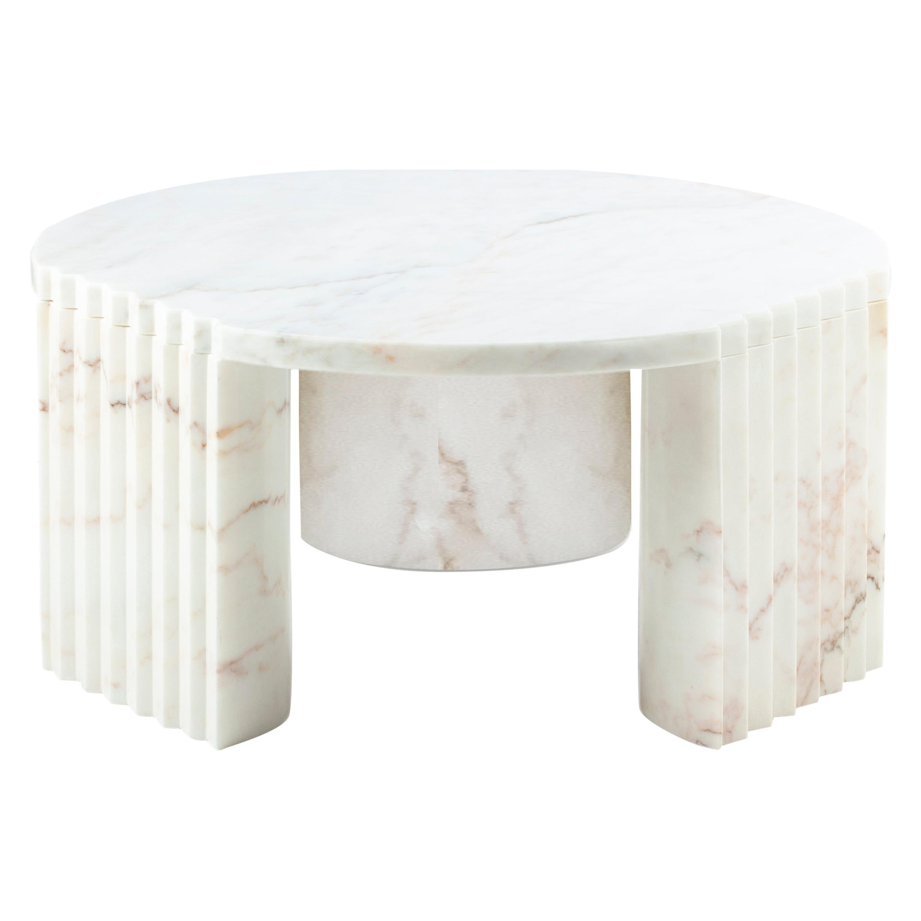 Caravel, 21st Century European Side Table White Marble by Federico Peri