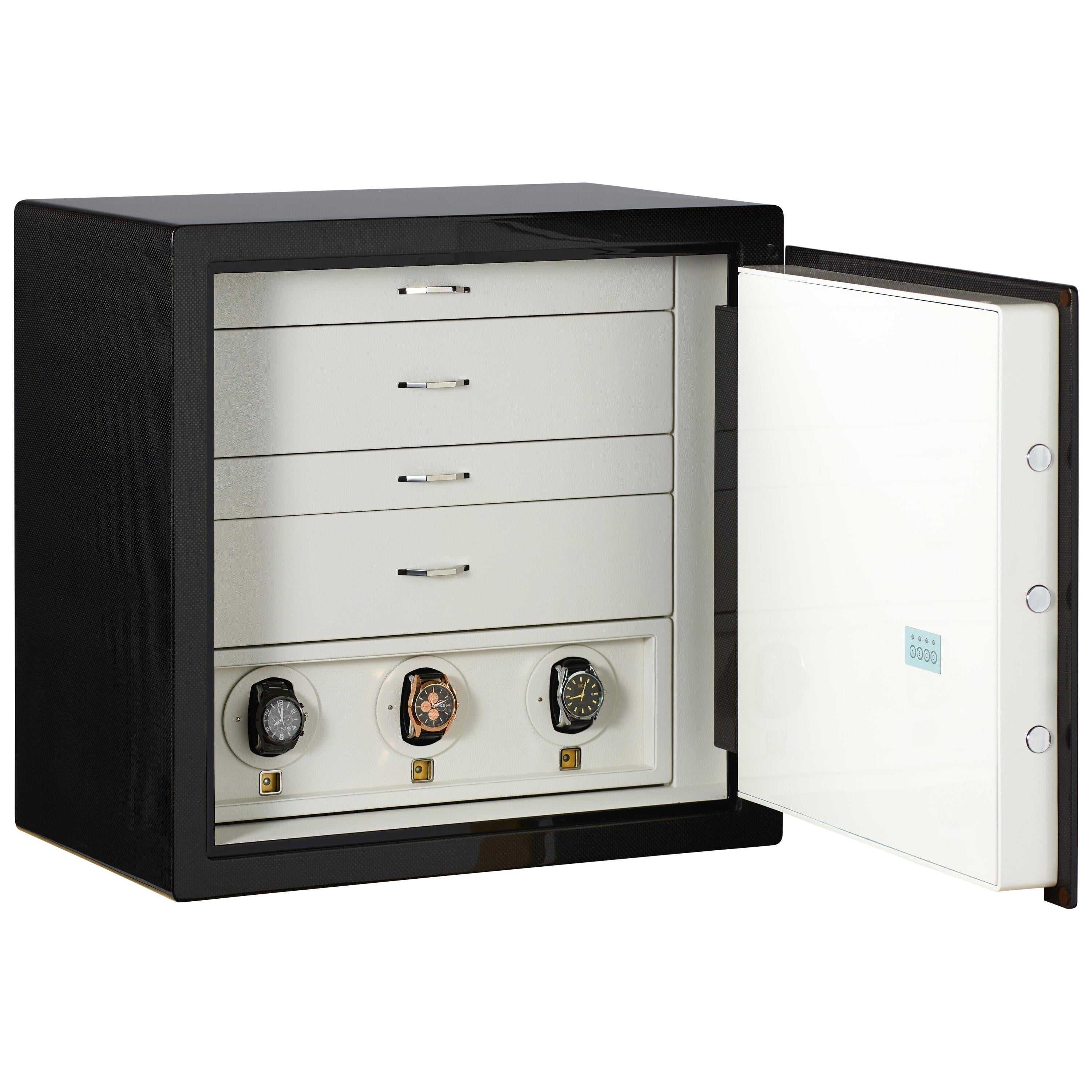 Agresti Armored Jewel Safe Polished Carbon Fiber Front and 3 Watch Winders