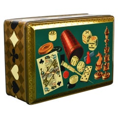 Card Game, Board Game Tin Box, 1950s, Green with Gold