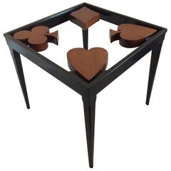 Card Table or Game Table Handcrafted with Spade Club Diamond Heart Design Top