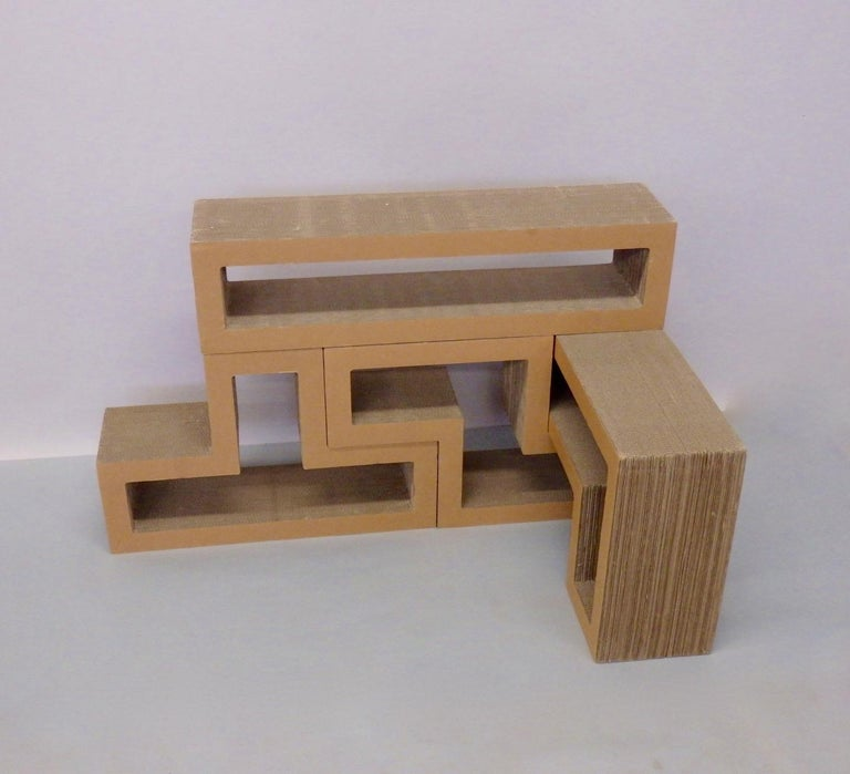 Cardboard Puzzle Piece Modular Shelf or Coffee Table Attributed to Frank Gehry For Sale 3