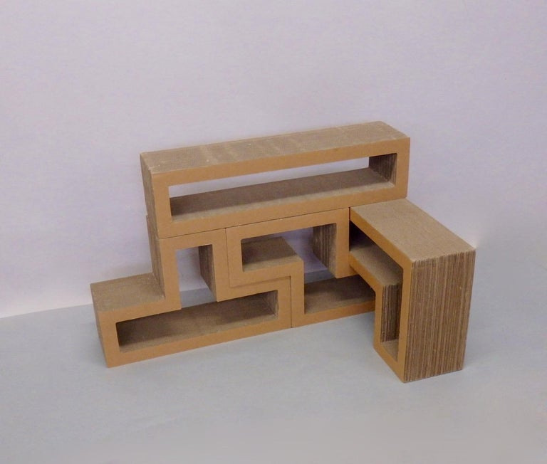 Cardboard Puzzle Piece Modular Shelf or Coffee Table Attributed to Frank Gehry For Sale 4