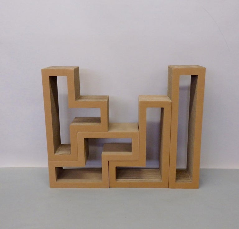 Mid-Century Modern Cardboard Puzzle Piece Modular Shelf or Coffee Table Attributed to Frank Gehry For Sale