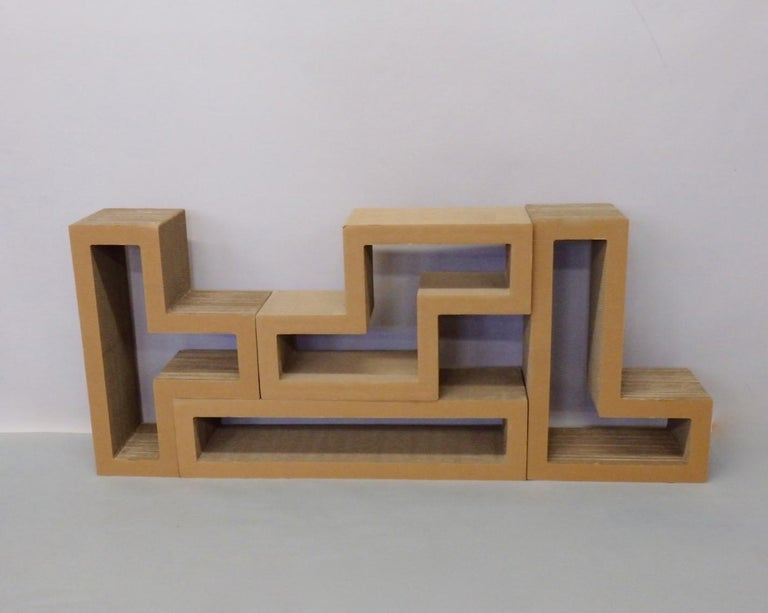 American Cardboard Puzzle Piece Modular Shelf or Coffee Table Attributed to Frank Gehry For Sale
