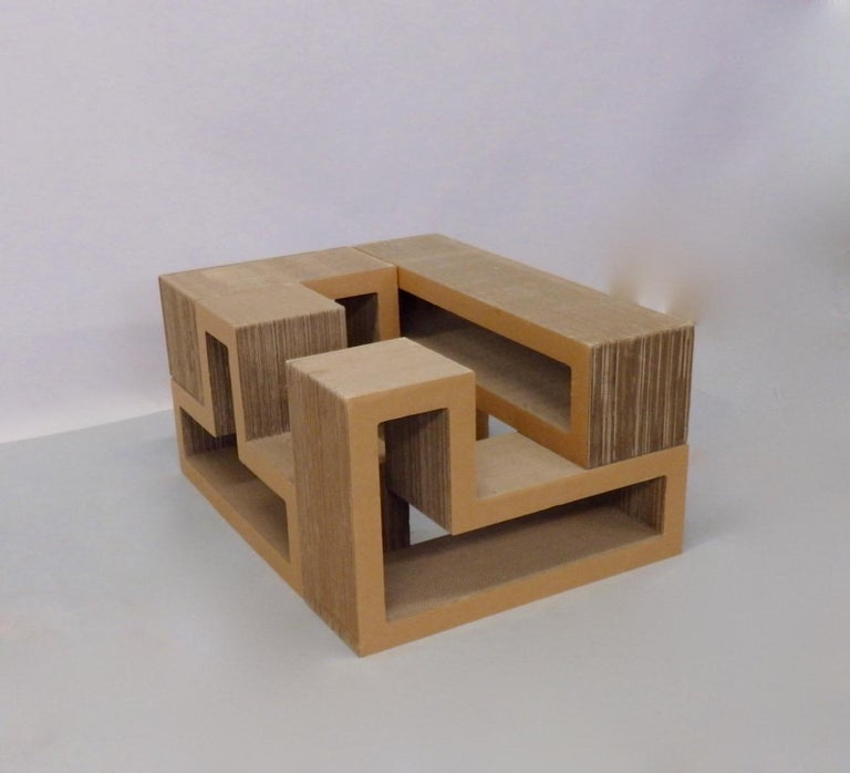 Cardboard Puzzle Piece Modular Shelf or Coffee Table Attributed to Frank Gehry In Good Condition For Sale In Ferndale, MI