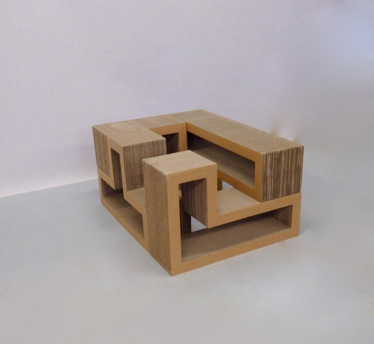 Late 20th Century Cardboard Puzzle Piece Modular Shelf or Coffee Table Attributed to Frank Gehry For Sale