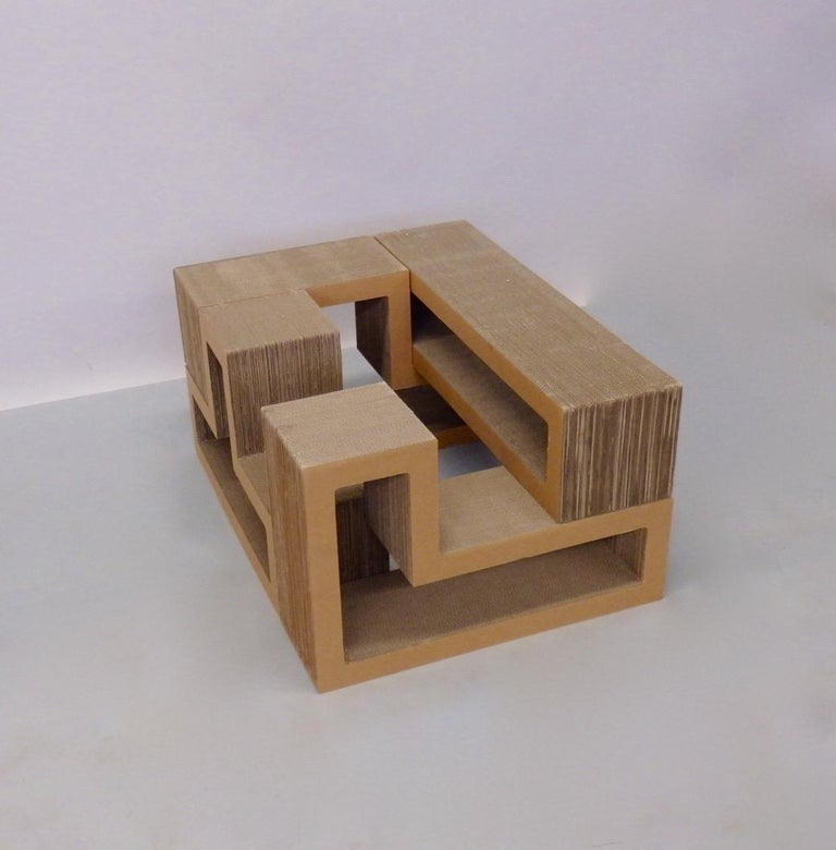 Other Cardboard Puzzle Piece Modular Shelf or Coffee Table Attributed to Frank Gehry For Sale