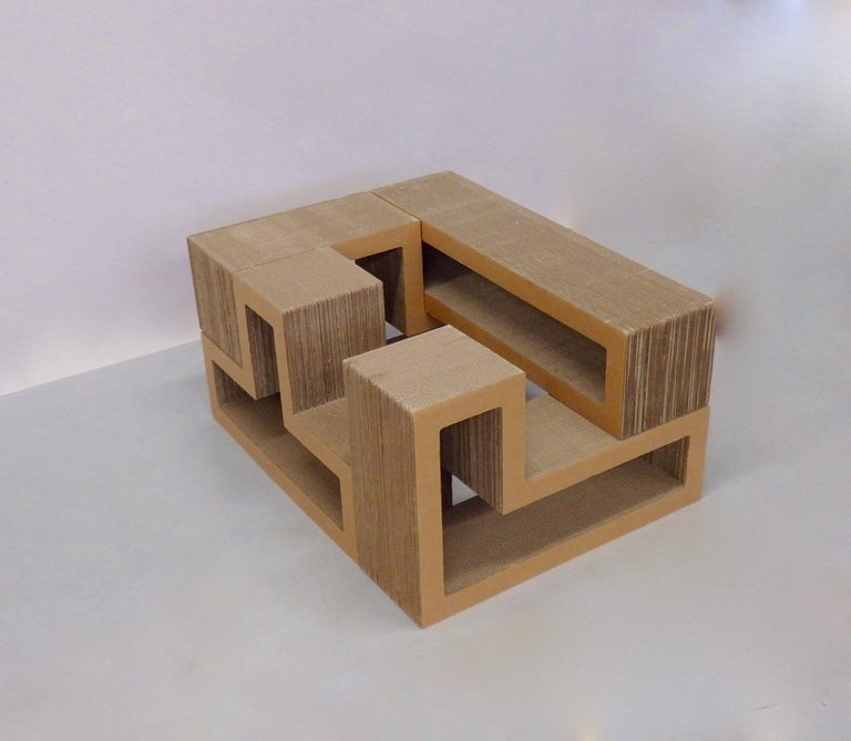 Cardboard Puzzle Piece Modular Shelf or Coffee Table Attributed to Frank Gehry For Sale 1