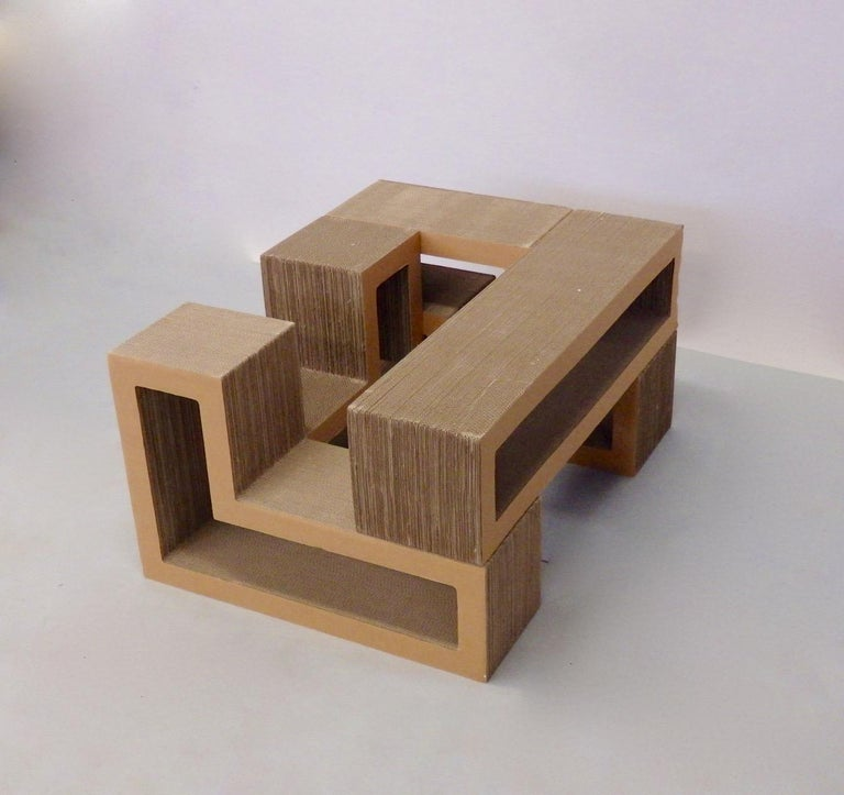 Cardboard Puzzle Piece Modular Shelf or Coffee Table Attributed to Frank Gehry For Sale 2