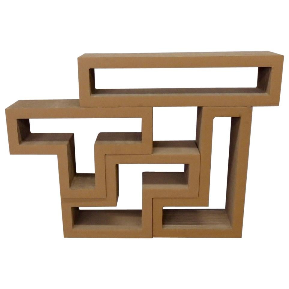 Cardboard Puzzle Piece Modular Shelf or Coffee Table Attributed to Frank Gehry