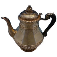 Cardeilhac French .950 Silver Tea Pot Vermeil with Ebony Handle Cattails