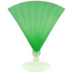 Carder Era Steuben Style Jade Green Alabaster White Antique Art Glass Fan Vase