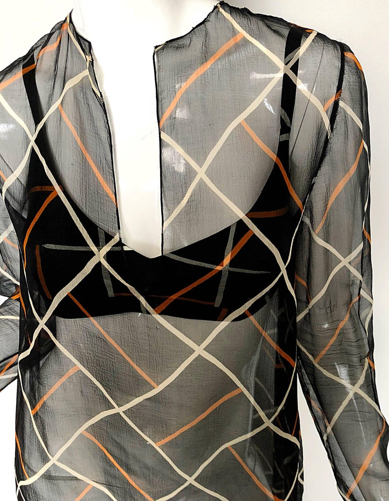 Gray Cardinali 1970s Original Sample Chiffon Bra and Sheer Vintage 70s Tunic Dress For Sale