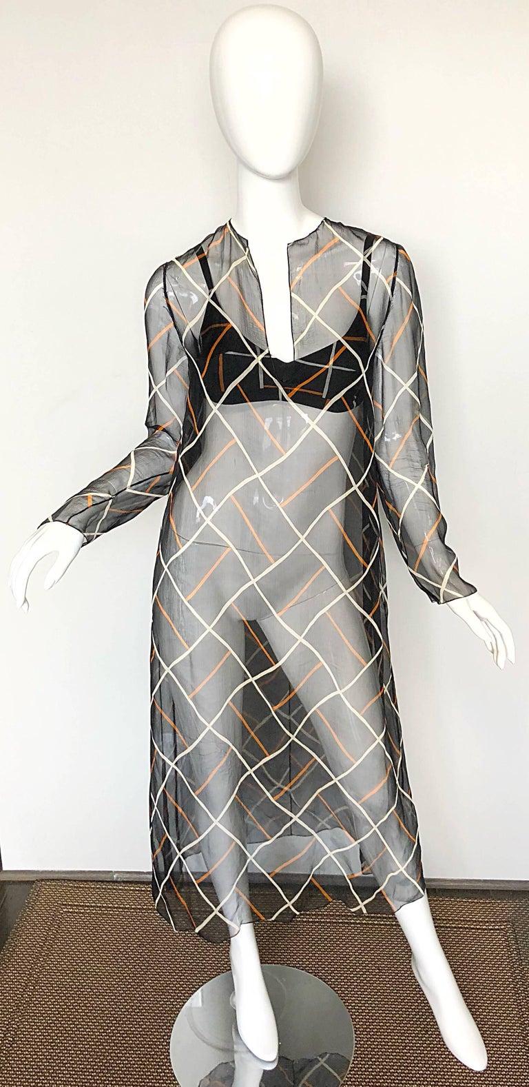 Cardinali 1970s Original Sample Chiffon Bra and Sheer Vintage 70s Tunic Dress For Sale 4