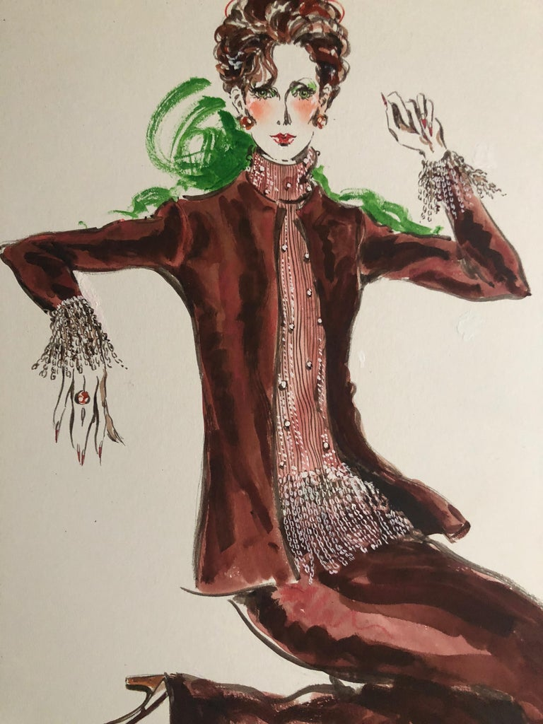 Gray Cardinali Fashion 1970's Original Fashion Illustration by Robert W. Richards For Sale
