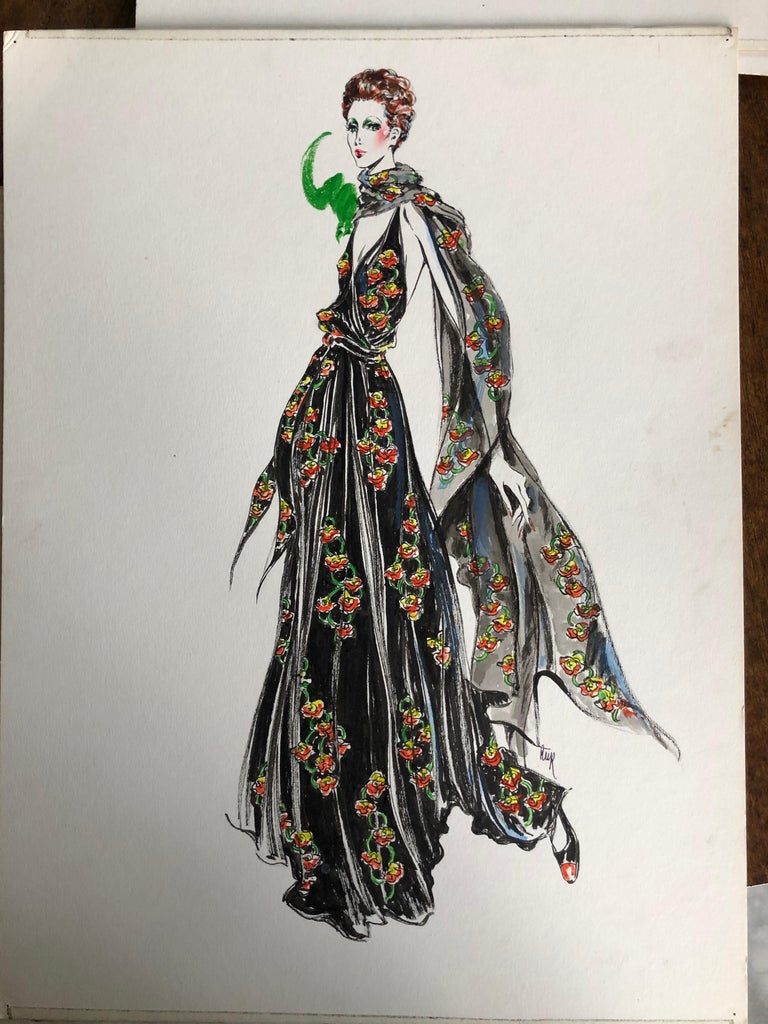 Cardinali Fashion 1970's Original Fashion Illustration by Robert W. Richards In Excellent Condition For Sale In San Francisco, CA