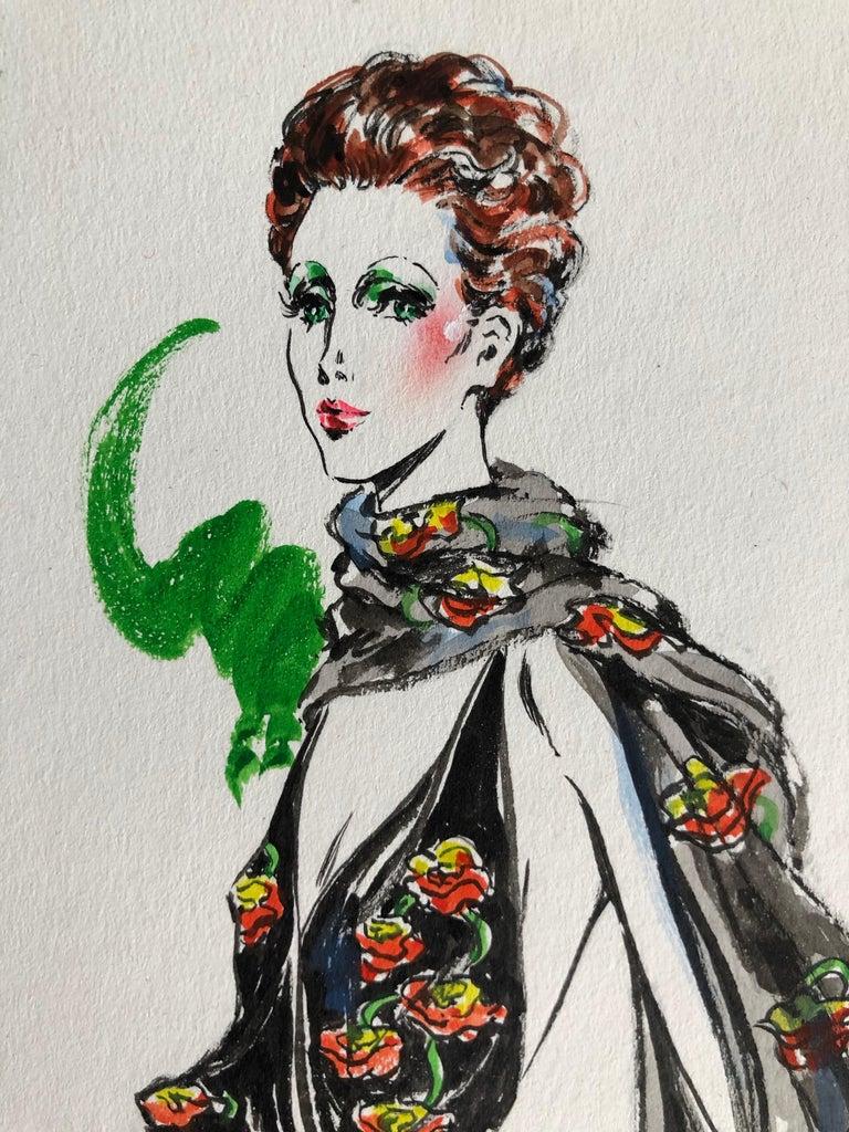 Women's Cardinali Fashion 1970's Original Fashion Illustration by Robert W. Richards For Sale