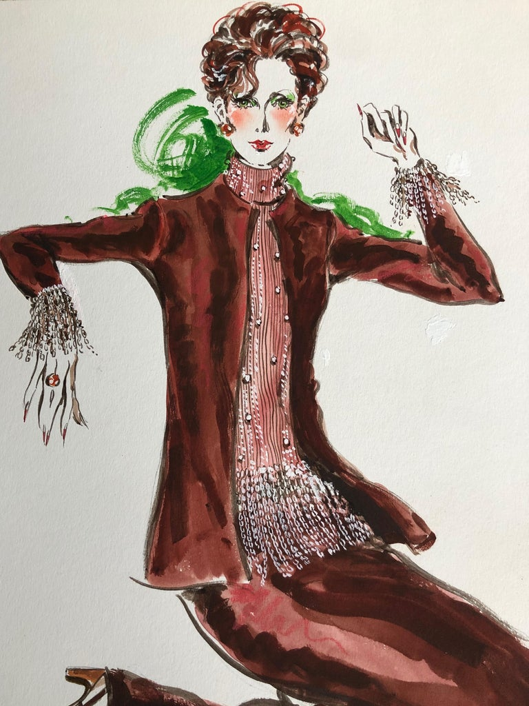 Cardinali Fashion 1970's Original Fashion Illustration by Robert W. Richards For Sale 1