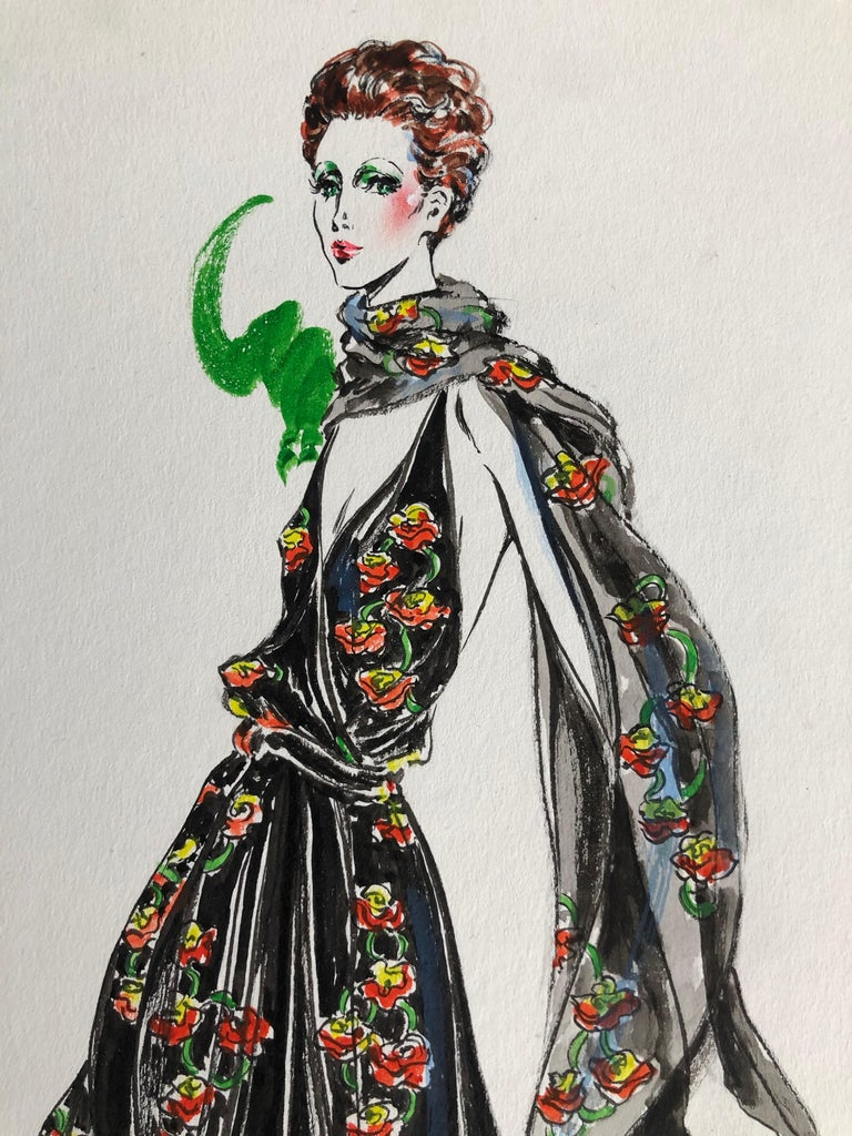 Cardinali Fashion 1970's Original Fashion Illustration by Robert W. Richards For Sale 2