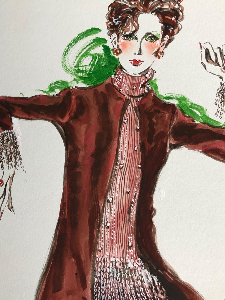 Cardinali Fashion 1970's Original Fashion Illustration by Robert W. Richards For Sale 2