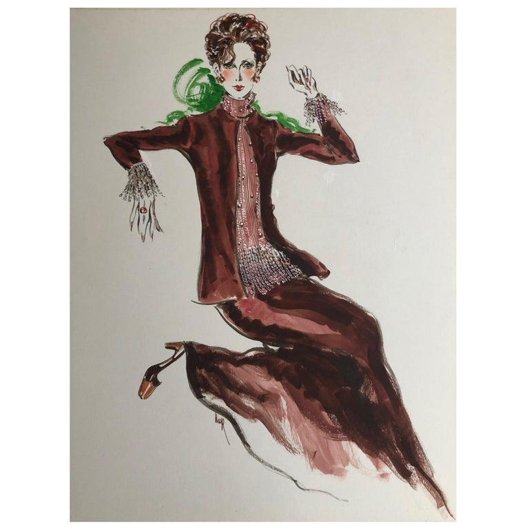 Cardinali Fashion 1970's Original Fashion Illustration by Robert W. Richards For Sale