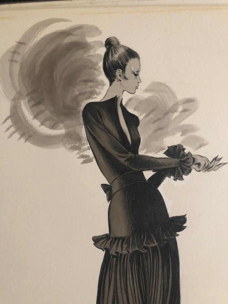 Beige Cardinali Fashion Original Illustration by Robert W. Richards, 1970s
