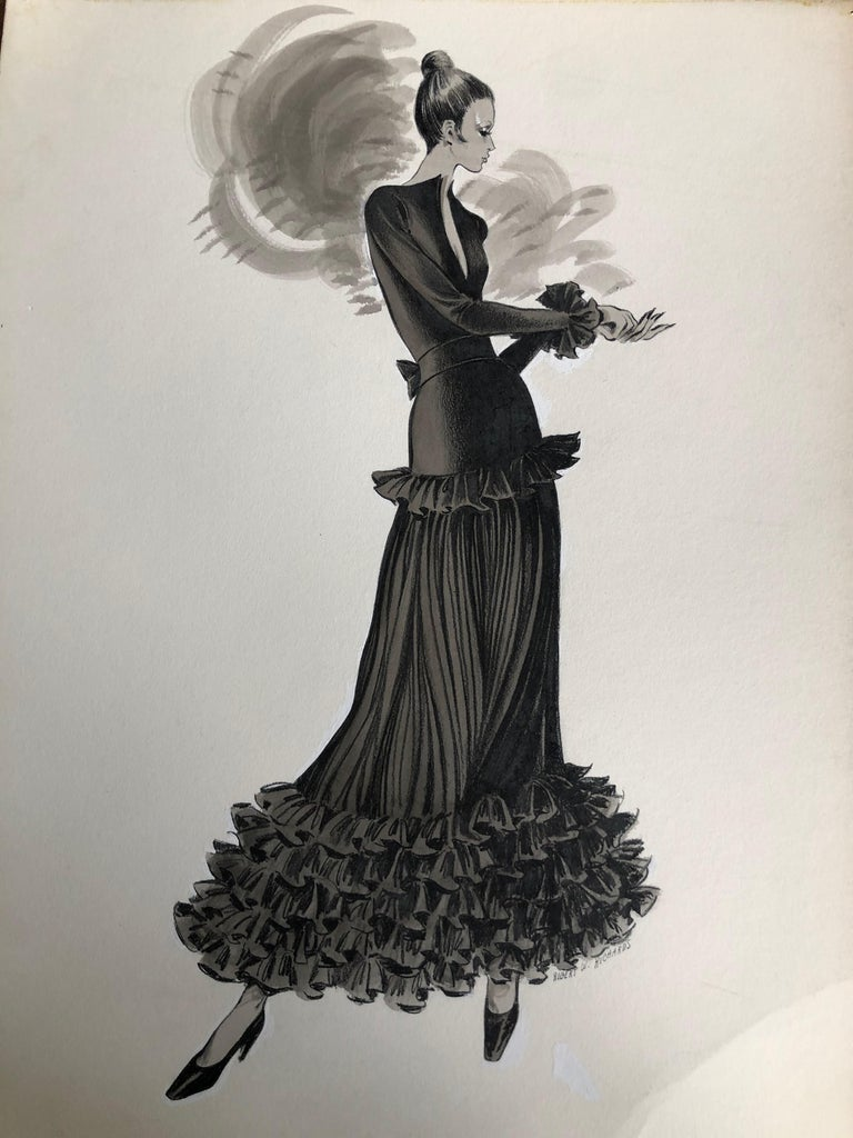 Cardinali Fashion Original Illustration by Robert W. Richards, 1970s  In Excellent Condition In San Francisco, CA