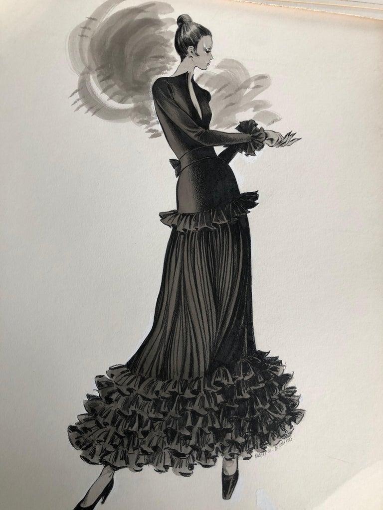 Cardinali Fashion Original Illustration by Robert W. Richards, 1970s  1