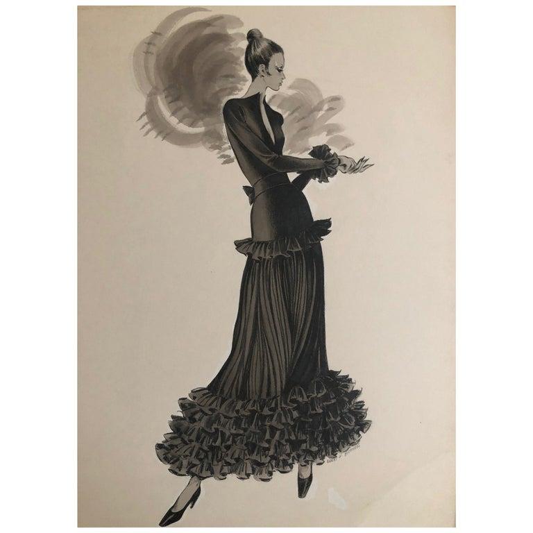 Cardinali Fashion Original Illustration by Robert W. Richards, 1970s