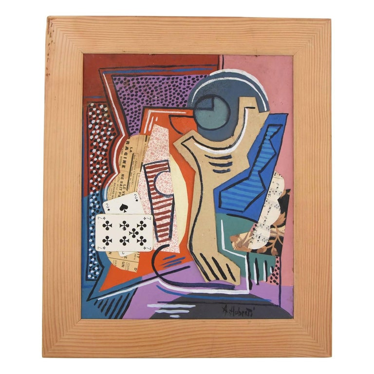Cards, Cubist Collage with Playing Cards and Staff Paper by Antonio Huberti 1940