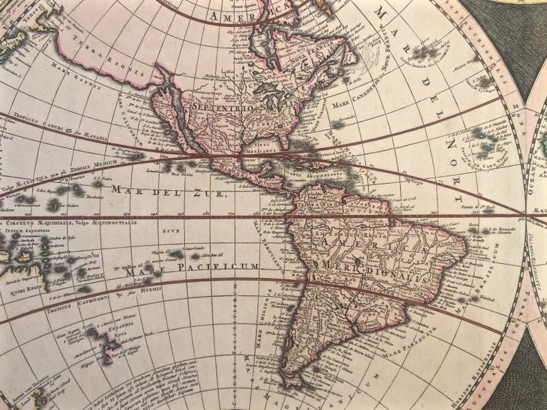 WORLD MAP - Planisphaerium Terrestre Sive Terrarum Orbis... 1696 For Sale 3
