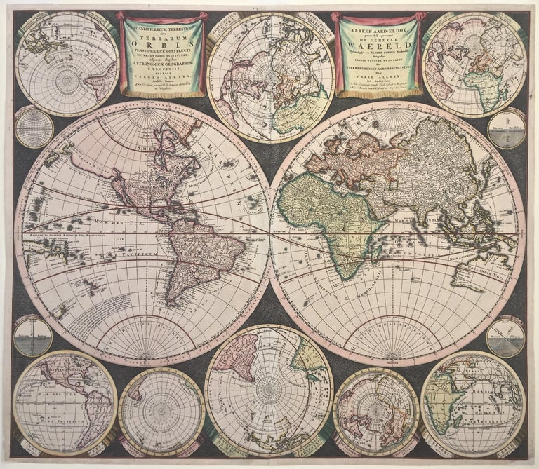 """CAREL ALLARD (1648 – 1709)            PLANISPHAERIUM TERRESTRE SIVE TERRARUM ORBIS…  1696  (Shirley 578)           Engraving, 20 ½ x 23 ½"""", sheet 21 x 24 1/8"""". A stunning double hemisphere World Map with sphere            projections of parts of"""
