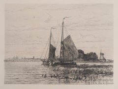 Fisherman Boats on the Scheldt - Original Etching