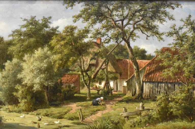 Farm with farmer's wife and a ditch - Willem Carel Nakken Dutch Realist Holland  - Painting by Nakken, Willem, Carel