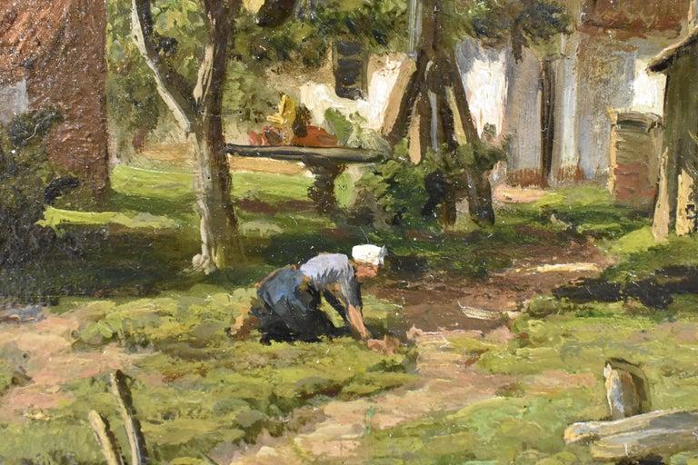 Farm with farmer's wife and a ditch - Willem Carel Nakken Dutch Realist Holland  1