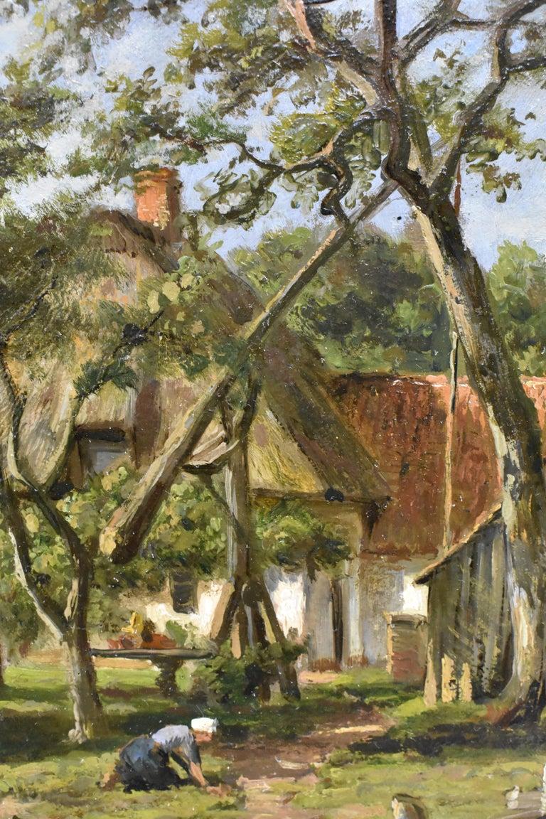 Farm with farmer's wife and a ditch - Willem Carel Nakken Dutch Realist Holland  2