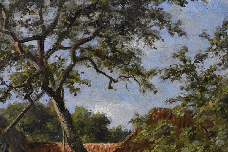 Farm with farmer's wife and a ditch - Willem Carel Nakken Dutch Realist Holland  4