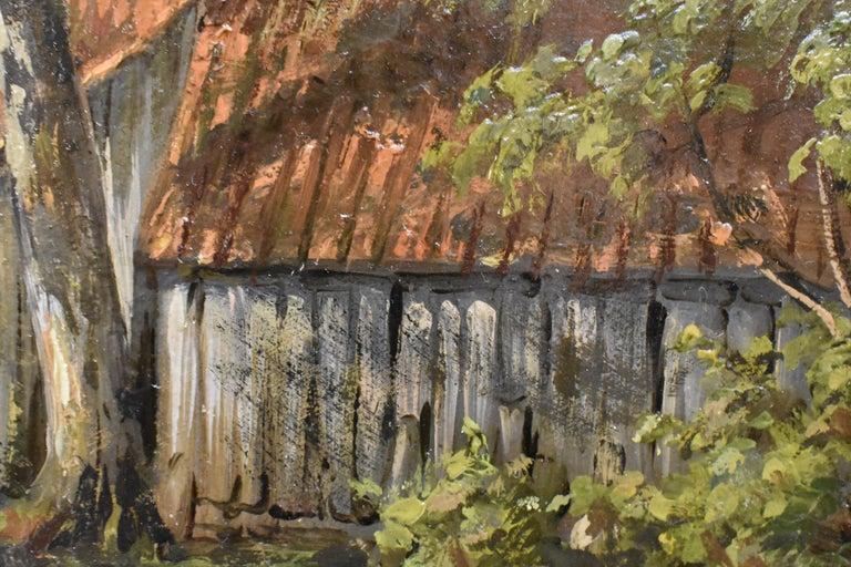Farm with farmer's wife and a ditch - Willem Carel Nakken Dutch Realist Holland  5