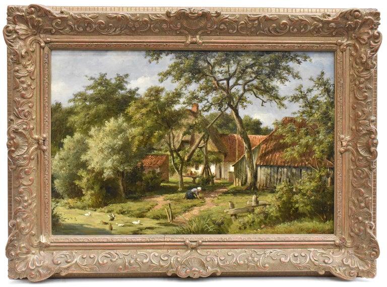 Nakken, Willem, Carel Animal Painting - Farm with farmer's wife and a ditch - Willem Carel Nakken Dutch Realist Holland