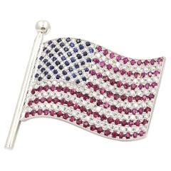 Carelle 18 Karat White Gold American Flag Pin