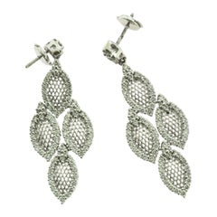 Caressa Diamond Drop Leaf White Gold Earrings