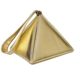 Carey Adina Gold Leather Pyramid New Bag 1990s