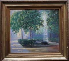 Fountain Court Inner Temple London - Welsh 20's Impressionist art oil painting