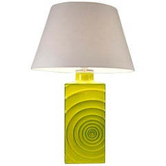 Cari Zalloni, 'Zyklon' Table Lamp, Yellow Glazed Ceramic, Germany, 1960's